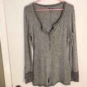 Aerie Large super soft sleep romper sweater grey
